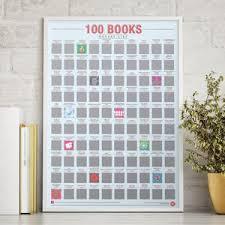 100 books scratch bucket list poster 30th birthday gifts