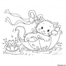 Printabel Coloring Pages Kitty Cat And Frog In Umbrella Printable