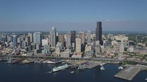 Seattle Cityscape 5k Stock Footage Aerial Video Approach Downtown Seattle Skyline And Fly Over The Seattle Ferry Terminal On The Waterfront Washington Aerial Stock