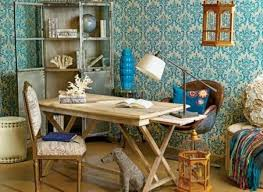 retro home office. retro wallpaper pattern in blue color home office d