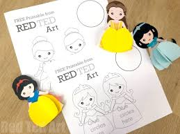 3d Princess Paper Doll Colouring Pages Red Ted Art
