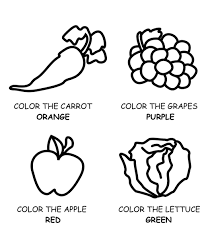 Healthy Food Fruit And Vegetables Coloring