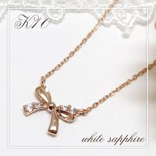 private label k10 pink gold ribbon white sapphire necklace silver 925 alize lady s necklace woman necklace pendant jewelry k10 present gift sapphire