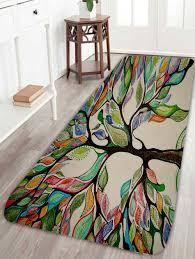 Coral Fleece Colorful Tree Print Bath Rug COLORFUL W INCH L INCH Colorful Bathroom Rugs