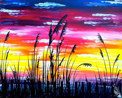 how to paint sunset at water s edge