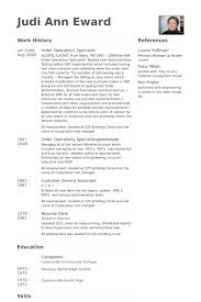 Order Operations Specialist Resume samples