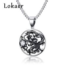 whole lokaer chinese style jewelry men s domineering stainless steel zircon dragon pendant necklace n18259 silver chains erfly necklace from