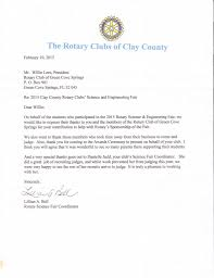 science fair judging thank you letter rotary club of green cove we would like to share this gracious thank you letter from the 2015 clay county science and engineering fair