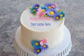 amazing flower cake for birthday wishes with name