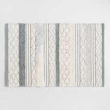 Gray and Ivory Woven and Tufted Striped Bath Mat
