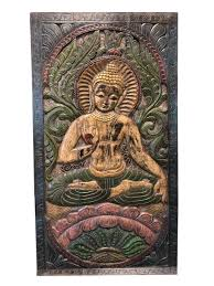 vintage buddha carved wood art handcrafted decorative wall panel sculpture