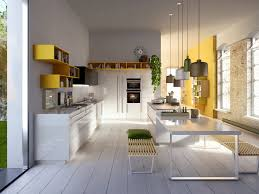 modern home office featuring glossy white. Modern Italian Kitchen Designs From Snaidero : Striking Design With Wall Mounted Yellow Home Office Featuring Glossy White A