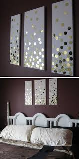 diy canvas wall art using hole punch and gold card click pic