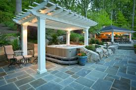 patio designs with fire pit and hot tub. Example Of A Large Classic Backyard Stone Patio Kitchen Design In DC Metro With Gazebo Designs Fire Pit And Hot Tub