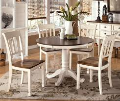 country white and brown dining furniture set with round table