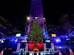 the mighty 76 foot tree is seen all lit up during the 81st annual rockefeller center tree lighting ceremony at rockefeller center on