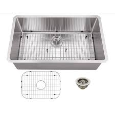 schon all in one undermount stainless steel 32 in 0 hole single bowl kitchen sink scrasb321916 the home depot