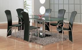 Chair Dining Table Set Furniture Rectangle Glass Top With Stainless Steel  Legs And Black Acrylic Pedestal Placed On Fur Rug Designs