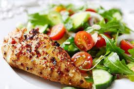 garden salad with chicken.  With Skillet Chicken U0026 Herbs With Garden Salad Recipe For With
