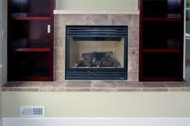 multiple stone design around fireplace