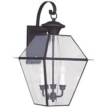 westover 3 light large solid brass colonial outdoor wall lamp lighting fixture bronze clear beveled glass b11697