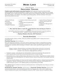 Sample Early Childhood Education Resume Preschool Teacher Skills ...