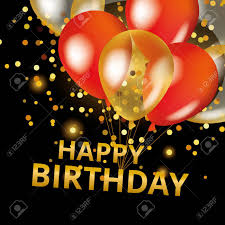 Balloons Happy Birthday On Black Gold And Red Balloons Background