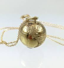 10k gold world globe charm pendant