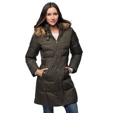 Shop Larry Levine Womens Long Down Filled Hooded Coat