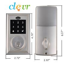 Decorating electronic keyless door lock pictures : Clevr Electronic Keyless Touchscreen Deadbolt Door Lock Satin ...