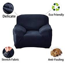 Slipcover Price Chart Stretch Sofa Cover Slipcovers Chair Armchair 1 Seater Spandex Textured Fabric Furniture Protector Navy Blue Chair