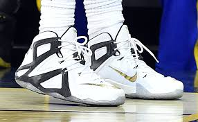 lebron james shoes white and gold. lebron james wearing a white/black-gold nike xii 12 elite pe lebron shoes white and gold