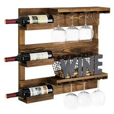 wall mounted rustic industrial wine rack glass holder utility shelving kitchen for