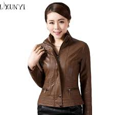 2019 whole 4xl 5xl high quality women leather jackets brown red blue stand collar faux leather coat zipper women plus size clothing outwear from bailanh