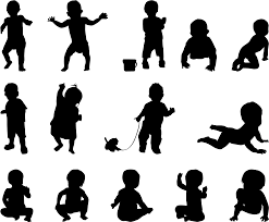 フリーイラスト 14種類の赤ちゃんのシルエットのセットでアハ体験