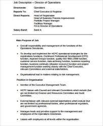 director of opearations job description service director job description