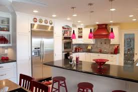 Red Pendant Lights for Kitchen Above Hand Blown Glass Fruit Bowl Over the  Countertops from Black