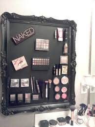 makeup wall organizer bought sheet metal from and cut it to size find this makeup wall organizer