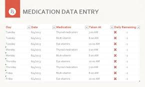 Medication Spreadsheet Schedule Free Medication Data Entry Template For Excel 2013