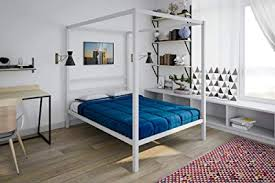 Amazon.com: DHP Modern Metal Canopy Bed, Full, White: Kitchen & Dining