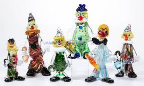 assorted murano art glass clowns lot of six