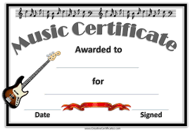Guitar Lesson Gift Certificate Template Free Editable Music Certificate Template Free And Customizable