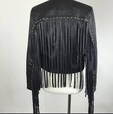 fringe studded faux leather jacket