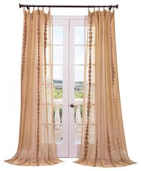 cleopatra embroidered sheer single panel curtain gold contemporary curtains