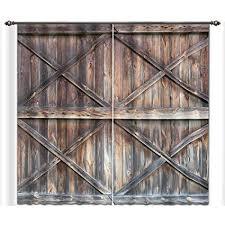 lb vine wooden farmhouse door 3d window curtains for living room bedroom rustic barn door