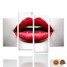 4 panels red lip canvas painting hot woman wearing red lipstick wall picture art decor for on red lipstick wall art with 4 panels red lip canvas painting hot woman wearing red lipstick wall