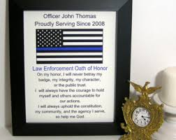 thin blue line flag personalized police officer gift leo oath of honor