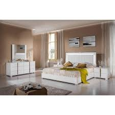 VIG Modrest San Marino Glossy White Queen Bedroom Set 6Pcs Modern Made In Italy