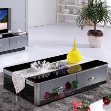 black mirrored coffee table set with drawers intended for plan 0