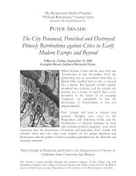 The City Penanced, Punished and Destroyed: Princely Retributions against  Cities in Early Modern Europe and Beyond